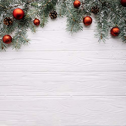 Leyiyi 10x10ft Photography Background Merry Christmas Backdrop Happy New Year Vintage Xmas Holly Jolly Christmas Rustic Wooden Board Pine Nut Fir Branch Red Deor Ball Photo Portrait Vinyl Studio Prop