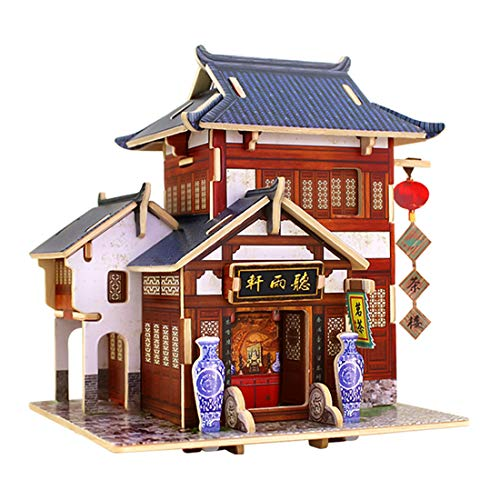 Yamix World Architectural House Building Model Kits DIY 3D Puzzle House Kit Wooden Jigsaw Puzzles Birthday Gifts for Boys and Girls (China Tea House)