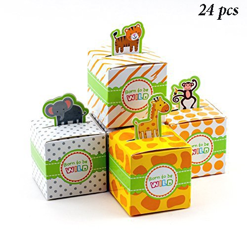 Safari Theme Baby Shower (Adorox Small 24 Pcs Born To Be Wild Adorable Jungle Safari Zoo Theme Baby Shower Favor Candy Treat Box Cute Birthday Decoration (assorted))