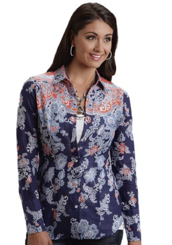 (Stetson China Blue Border Print Shirt Ladies Collection- Spring III (XS) 11-050-0590-0261BU)