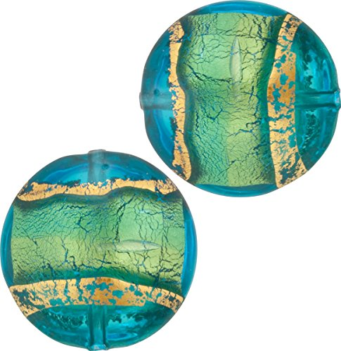 Aqua Gold Band Puffy Disc 16mm 2 Pieces Murano Glass Bead