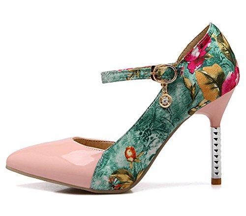Aisun Damen Sexy Spitz Zehen Blumen Muster D-Orsay Stiletto Pumps mit Schnalle Pink