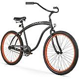 Firmstrong Bruiser Man Single Speed Beach Cruiser Bicycle, 26-Inch, Matte Black/Orange