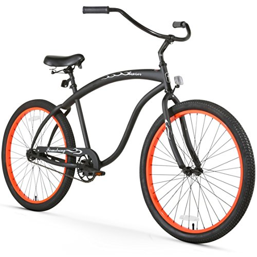 Firmstrong Bruiser Man Single Speed Beach Cruiser Bicycle, 26-Inch, Matte Black/Orange