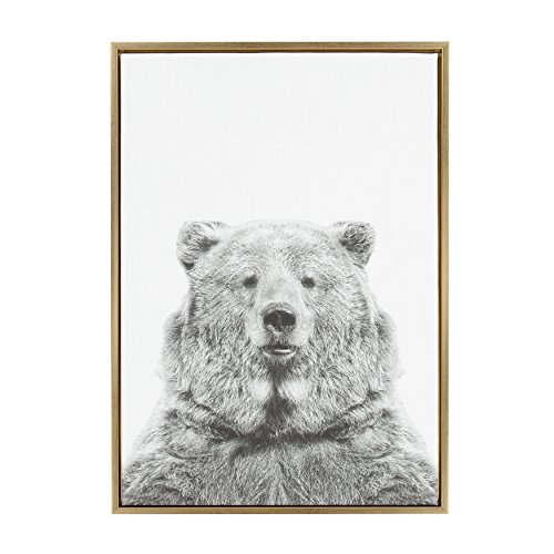 Kate and Laurel - Sylvie Bear Animal Print Black and White Portrait Framed Canvas Wall Art by Simon Te Tai, Gold 23 x - Gold Framed