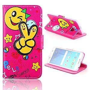 Casefashion® Caso Funda Para Samsung Galaxy S6 G9200 Smiley Finger Style Premium PU Protector Cuero Case con Monedero Card Holder Flip Soporte de la Cover