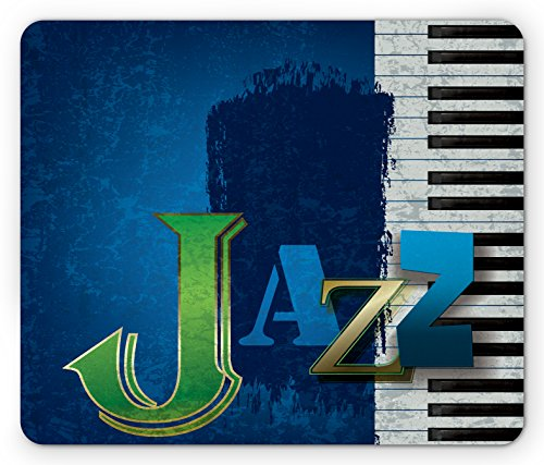 Ambesonne Jazz Music Mouse Pad, Abstract Cracked Jazz Music Background with Piano Keys Music Themed Print, Standard Size Rectangle Non-Slip Rubber Mousepad, Navy Green White