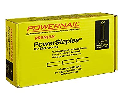 "Powernail 15.5ga. 2"" PowerStaple for Hardwood Flooring. 1 Case of 6-1000ct boxes"