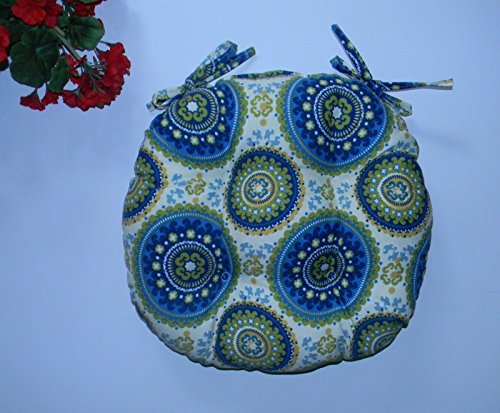 Dial Fabric (Indoor / Outdoor Round Tufted Bistro Cushion with Ties - Blue Green Bohemian Sundial Fabric - Choose Size (16