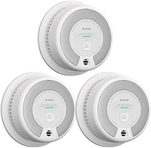 X-Sense 2-in-1 Smoke and Carbon Monoxide Detector Alarm, 10-Year Battery-Operated Dual Sensor Fire CO Alarm with Auto-Check, SC06, Pack of 3