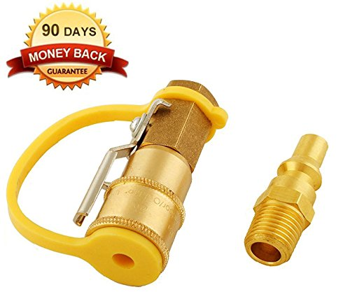 Gas Plug Valve (Wadoy RV Propane Quick Connect Adapter Kit Natural Gas 1/4 Shutoff Valve & Male Full Flow Plug)