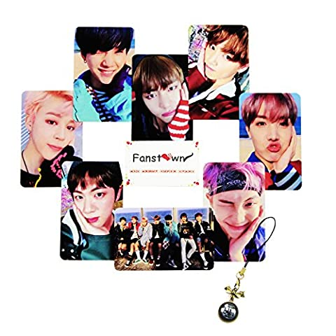 Fanstown Kpop BTS Bangtan Boys double sides signature Lomo Cards with gem pendant (BTS lomo-8 B) (Bts Army)