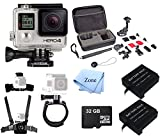 GoPro HERO 4 Silver Edition 12MP Waterproof + 32GB MINI SD Card+ 2 Batteries+ Case+ Head chest wrist Mounts - Sports & Action Camera Bundle