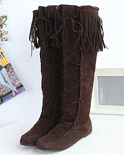 Heel Donna Marrone Nappa Casual Boots Elegante Piatti Inverno Lunghi Stivali Stringate Autunno Minetom 0g1wqd4w