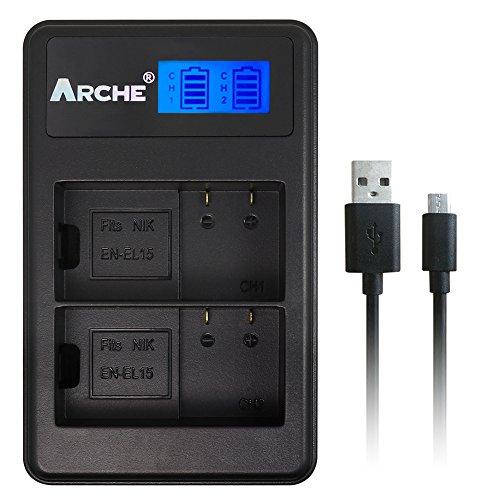 EN-EL15 EN-EL15A ARCHE LCD Dual USB Charger for [Nikon DSLR D500 D600 D610 D750 D800 D800E D810 D810A D850 D7000 D7100 D7200 D7500 Nikon 1V1] by ARCHE