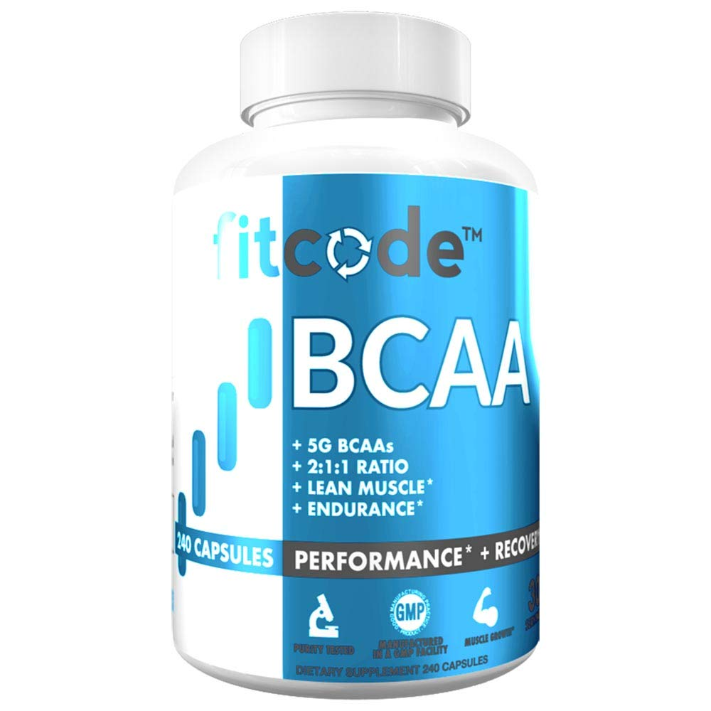 Fitcode Ultra Premium BCAAs with 5G of Pure BCAAs with Proven 2:1:1 Ratio of Amino Acids to Help Post Workout Recovery, Lean Muscle Growth, Endurance, Capsules (30 Servings)