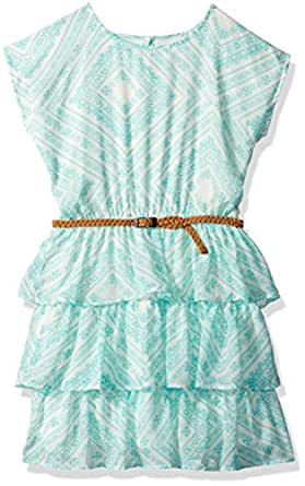 The Children's Place Big Girls' Flutter Sleeve Casual Dresses, Aztec Sky 5113, XS (4)