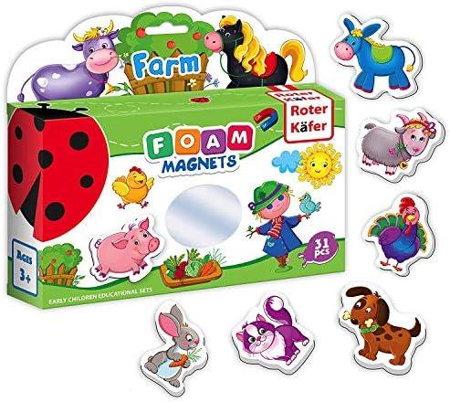 Roter Käfer 31 Kindermagnete - Bauernhof Tiere - Magnete für Jungs und Mädchen - Spielzeug- und Kühlschrankmagnete
