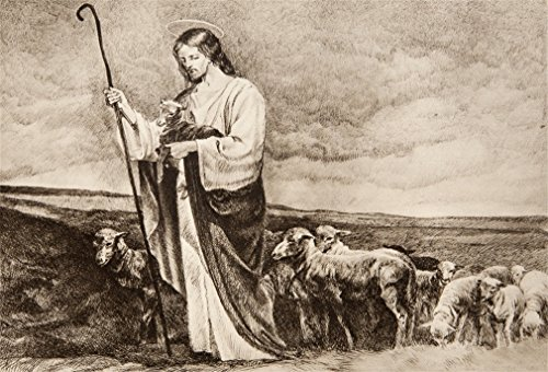 DaShan 5x3ft Photography Backdrop Jesus Good Shepherd Oil Painting Artistic Religion Belief Culture Photo Background Backdrops Photography Video Party Adults Wedding Portrait Photo Studio - Oil Painting Background
