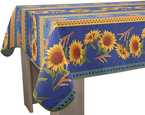 EasyNappes Tablecloth, Anti-Stain, Tournesol Blue, Rectangular 60x120 ()