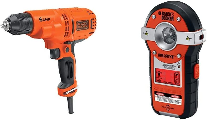BLACK+DECKER Corded Drill, 6.0-Amp, 3/8-Inch with Line Laser, Auto-leveling with Stud Sensor (DR340C & BDL190S)