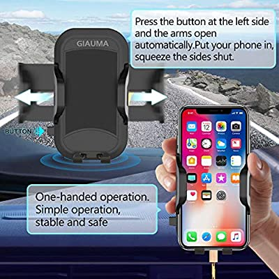 GIAUMA Car Phone Mount Air Vent Cell Phone Holder Cradle with Anti-Scratch Clip Universal Compatible with iPhone Samsung Galaxy Nexus Nokia and Any Smartphone Under 7 inch