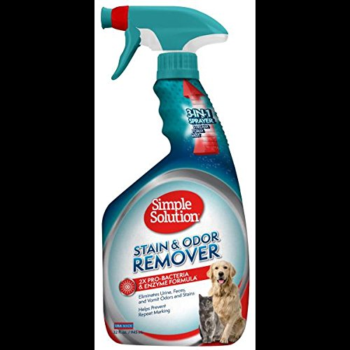 Simple Solution Pet Stain and Odor Remover with Pro-Bacteria and Enzyme Formula, Made in - Stain Feces Removal