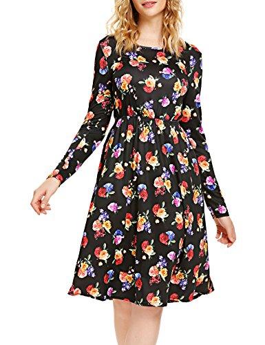 SE MIU Women Grace Long Sleeve Round Neck Casual Spring Dress, Black, XXL
