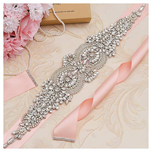 (yanstar Silver Rhinestone Crystal Beaded Wedding Bridal Belt Sash with Blush Ribbon for Womens Gowns Dress)