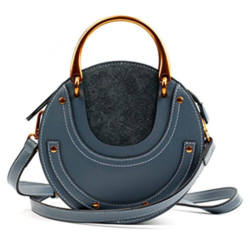 Actlure Women Genuine Cowhide Leather Round Shape Top handle Shoulder Purse Crossbody Bag (blue)