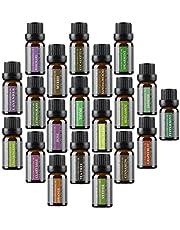 Top 20 olejków eterycznych do aromaterapii, 10 ml, 100% czysty i naturalny od Wasserstein (lawenda, drzewo herbaciane, eukaliptus, trawa cytrynowa, mięta pomarańczowa i wiele innych)