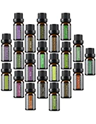 Wasserstein Top 20 Aromatherapy Essential Oil, 10ml, 100% Pure & Natural (Lavender, Tea Tree, Eucalyptus, Lemongrass, Orange Peppermint, and much more)
