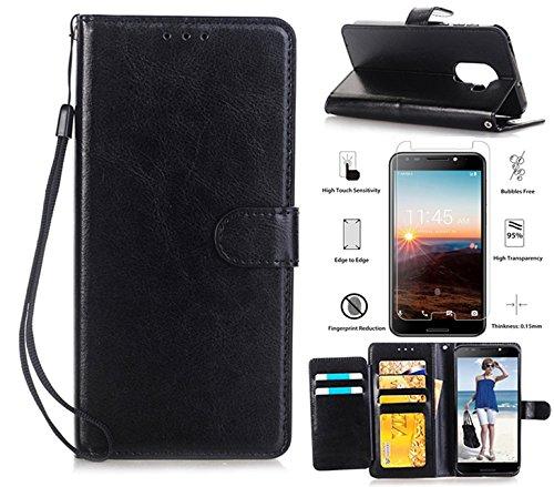 L00KLY T-Mobile REVVL 5049W Case, Alcatel A30 Plus Walters Case, Alcatel A30 Fierce Case with HD Screen Protector, [Kickstand] [Card Slot] [Wrist Strap] Magnetic Flip Folio PU Leather Wallet (Black)