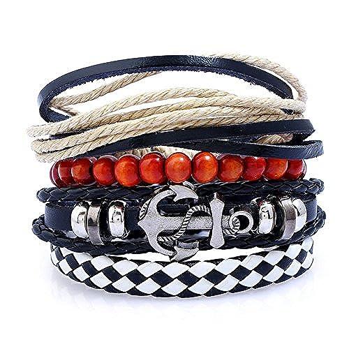 792499fbe583 ... Punk Cool regalo para hombres mujeres Lovely. joielavie joyas pulsera  Set 4 piezas madera de anclaje multicapa cuentas trenzado ajustable Wrap  pulsera ...