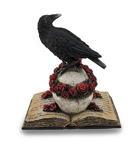 Resin Statues Perched Raven On Rose Skull And Open Poetry Book Statue 4.5 X 7 X 5 Inches Pink