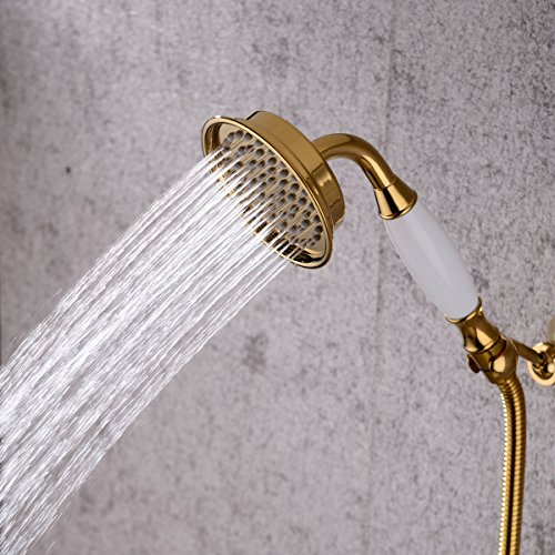 "4 Inch Brass Fixed Handheld Shower Head with 60"" Stainless Steel Extra Long Shower Hose , Golden on sale"