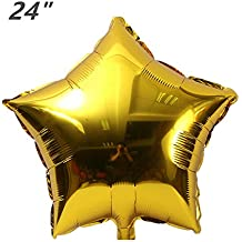 ZOOYOO 24pcs Star Shape Foil Mylar Balloons,24 Inch Gold Pentagram Balloon For Birthday Party & Wedding Decoration (Gold)