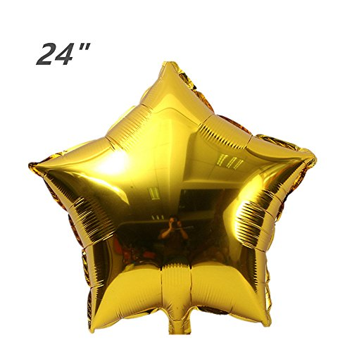 Foil Christmas Star (ZOOYOO 24pcs Star Shape Foil Mylar Balloons,24 Inch Pentagram Balloon For Birthday Party & Wedding Decoration (Gold))