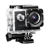 Pictek Action Camera, Waterproof WIFI Sports Video Camera 12MP 2.0-Inch 1080P FHD Action Video Camera with 2 Batteries and Accessories, Black