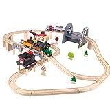 Hape E3752 Kids Wooden Railway Working on the Railroad Set Toy