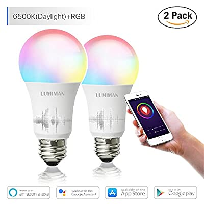 Smart Wifi Light Bulb, Led RGB Color Changing, Work with Amazon Alexa and Google Assistant, No Hub Required, A19 E26 Multicolor LUMIMAN