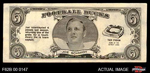 Joe Schmidt Detroit Lions - 1962 Topps Football Bucks # 31 Joe Schmidt Detroit Lions (Football Card) Dean's Cards 4 - VG/EX Lions