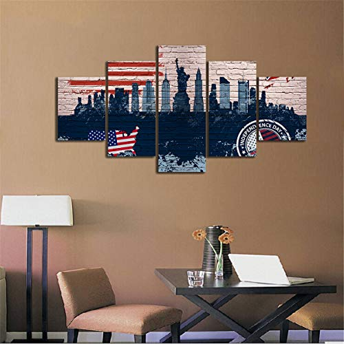 Yan Quan 5 Pcs American Flag Canvas Print Wall Pictures Living Room USA Eagle Independence Day Painting Framed Posters Prints Giclee Print Gallery Wrap Artwork Home Decoration - 60''W x 32''H