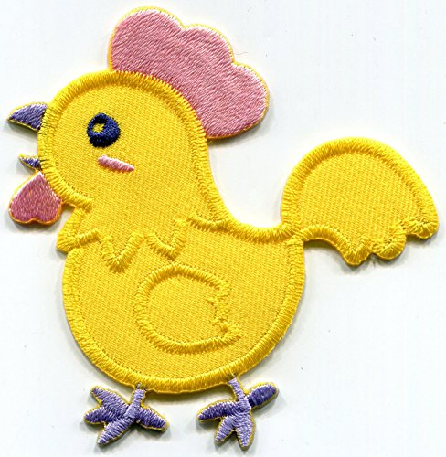 (Baby chicken chick yellow embroidered applique iron-on patch S-1526)
