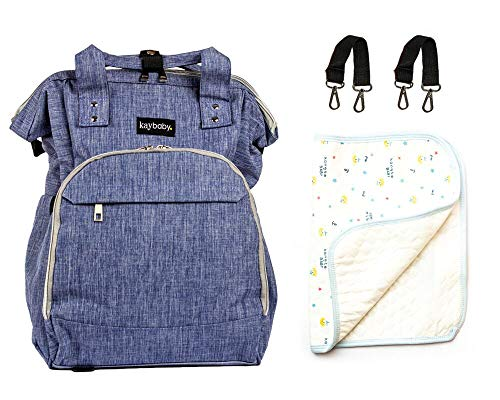 Top Rated Diaper Bag Backpack Large Multifunction Waterproof Travel Backpacks Baby Stylish Bonus Changing Pad, Stroller Straps, Insulation Pockets (Blue)