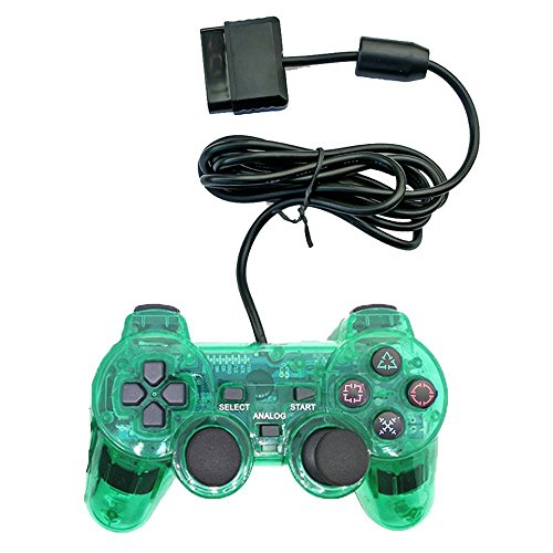 Saloke Wired Gaming Controller for Ps2 Double Shock (Clear Green 1)