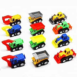 AOSILEY 12 Pack Pull Back Vehicles, Assorted Construction Vehicles Dump Truck Toys for Toddlers Boys, Pull Back and Go Mini Car Kids Toy Play Set