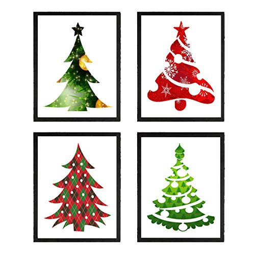 Amazon.com: Christmas Tree Art Prints Set Of 4 8x10 Prints - Unframed -  Beautiful Green Red Pine Trees Ornaments Holiday Room Wall Decor Decoration  Interior Design: Handmade