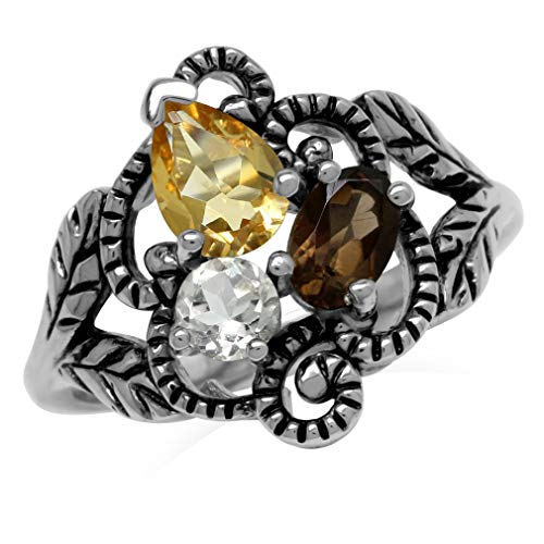 Natural Citrine, Smoky Quartz & White Topaz 925 Sterling Silver Vintage Style Leaf Ring Size - Citrine Jewelry