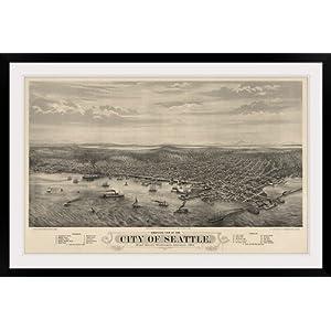 "GreatBIGCanvas ""Vintage Birds Eye View Map of Seattle, Washington"" Photographic Print with Black Frame, 48"" x 30"""